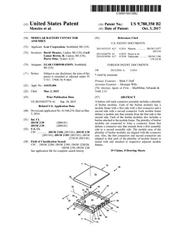 Modular battery connector assembly: United States Patent 9780350 (English Edition)