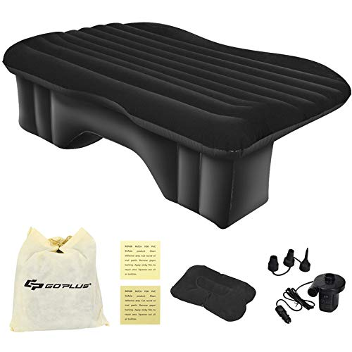 Goplus Car Inflatable Air Mattress, Universal Car Air Bed Cushion, Camping Universal SUV Extended Air Couch with Pillow (1)