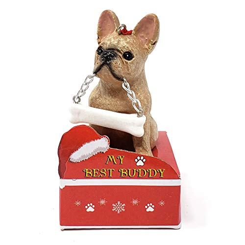 Animal Den My Best Buddy French Bulldog Christmas Tree Ornament Decoration