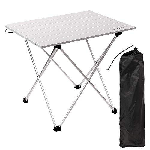 REDCAMP Folding Camping Tables That Fold Up, Lightweight Portable Aluminum Camp Table Roll Up for Outdoor Beach Picnic with Storage Bag,Medium