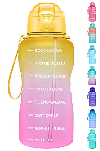 Giotto Large 1 Gallon/128oz Motivational Water Bottle with Time Marker & Straw,Leakproof Tritan BPA Free Water Jug,Ensure You Drink Enough Water Daily for Fitness,Gym and Outdoor Activity-Yellow/Pink