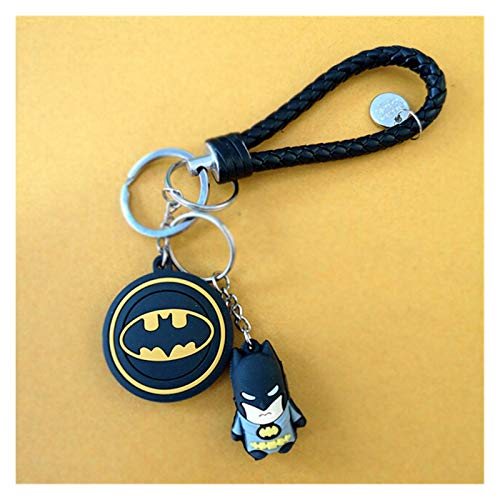 Yinyimei Keychain 3D Cartoon PVC Keychains Superheroes Batman Iron Man Spider Man Key ring Kids Schoolbag Pendant Gift (Color : Batman)