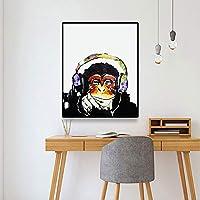 キャンバスペインティング 白黒キャンバス絵画印刷写真アートポスター家の壁の装飾写真リビングルームの装飾のためのオランウータン動物の絵画 50x75cm