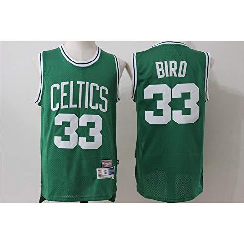 Larry Bird # 33 Boston Celtics, Klassisches Retro-Sport-T-Shirt- / Shorts-Set mit bequemen, leichten und atmungsaktiven Stickereien, Unisex-Fan-Swingman-Trikot,Grün,M(175CM/65~75Kg)