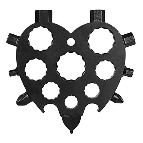 Herramienta multifunción 20 en 1 en forma de corazón, de KNMY, herramienta de regalo para hombres, de acero inoxidable, portátil, abrebotellas, destornillador, llave de anillo, llave hexagonal
