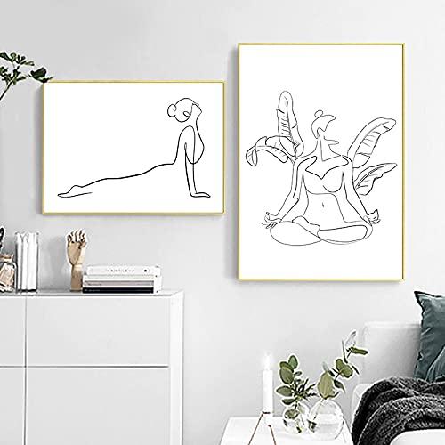 xdai Arte de Pared Minimalista Asana Posturas de Yoga Línea Ascendente Impresiones artísticas Dibujo de Mujer Carteles Pintura en Lienzo Decoración de la habitación de Yoga 60x80cmx2 sin Marco