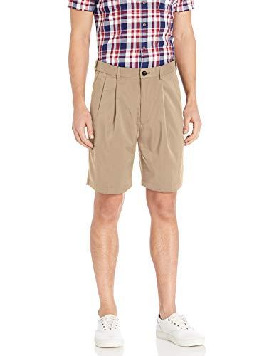 Savane Men's Pleated Mirco Fiber Short, Chinchilla, 44