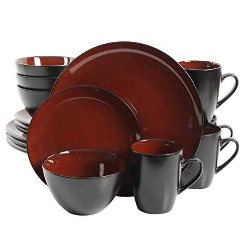 Gibson Overseas, Inc. Gibson Elite Soho Lounge Round 16-Piece Reactive Glaze Dinnerware Set Service of 4, Stoneware, Burgundy/Black