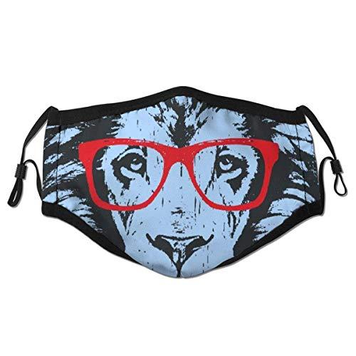 dpcm Pañuelo reutilizable de media cara, retrato de león con gafas, cubierta de boca deportiva ajustable para exteriores
