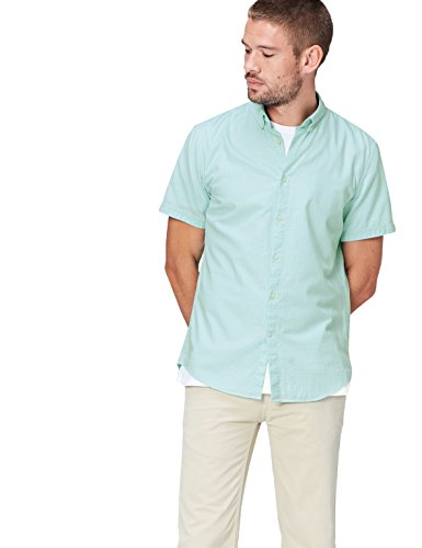 Amazon-Marke: find. Herren Freizeithemd, Grün (Mint Green Gingham), M, Label: M