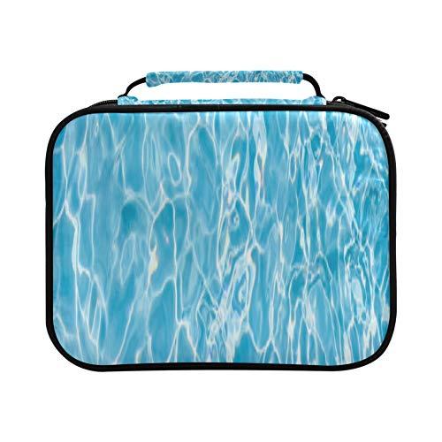 Estuche azul para lápices de verano, piscina bajo el agua, con capacidad para 96 lápices o 64 bolígrafos de gel, gran capacidad, con cremallera, gran regalo para estudiantes y artistas.