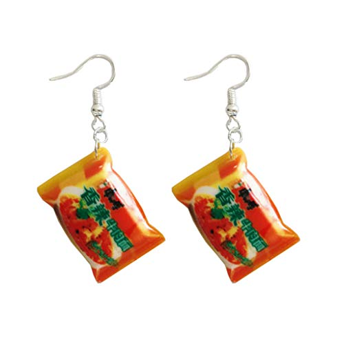 WE-WHLL Funny Small Simulation Instant Noodle Chili Food Drop Earrings Fashion Jewelry-6