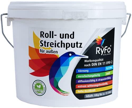 RyFo Colors Roll- und Streichputz für außen 10kg (Größe wählbar) - Rollputz für den Außenbereich und Fassaden, strahlendes weiß mit edler feinkörniger Struktur, einfachste Verarbeitung