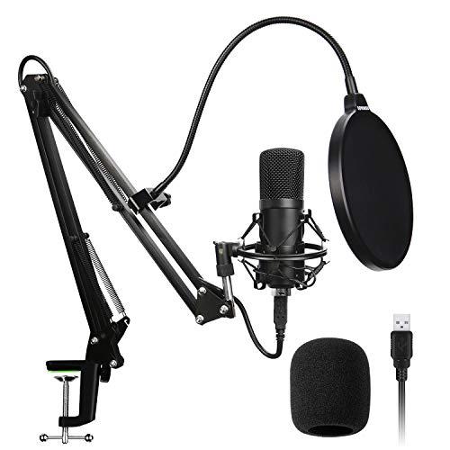 SLT Micrófono de Condensador, USB Kit Micrófono Profesional Cardioide Soporte Amortiguador, Filtro Antipop Grabación, Podcast, Locución, Emisión, Home Studio, Youtube