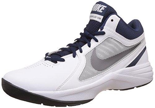 Nike Herren The Overplay VIII Basketballschuh, Weiß Dunkelgrau Metallic Navy Medium, 40 EU