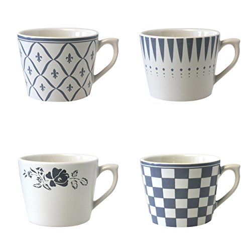 Depot d'argonne 4 Tasses à Cappuccino, Motif en céramique, Gris, 11 x 9 x 7 cm