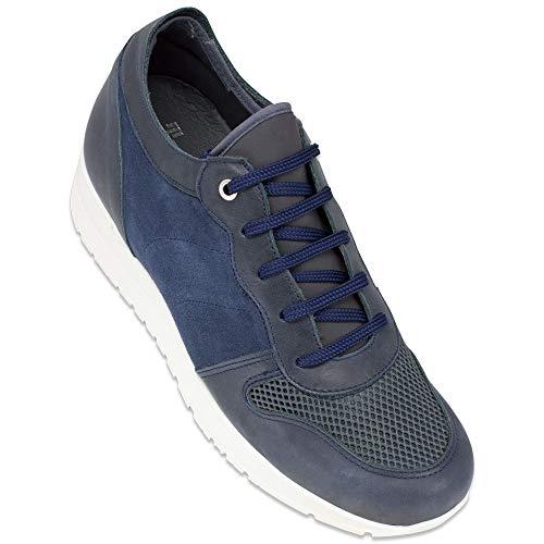 Scarpe con Rialzo da Uomo Che Aumentano l'Altezza Fino a 7 cm. Fabbricate in Pelle. Modello Sidney (41, Blu)