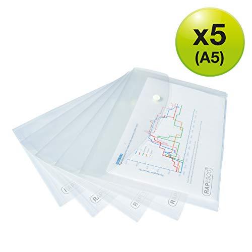Rapesco Cartelle a busta portadocumenti – A4+ trasparente 1 confezione: 5 cartelle