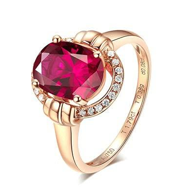 Bishilin Anillos de Boda Oro Rosa 750, Diamante Halo Anillo con Rojo Turmalina 1.79ct Anillo de Alianza de Boda de Compromiso de Aniversario Regalos para Cumpleaños Navidad Oro Rosa