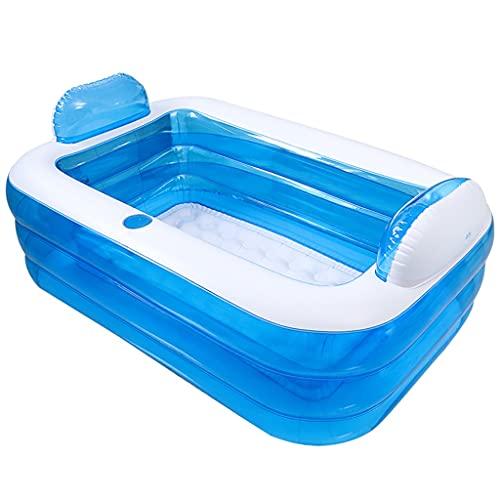 Bañera inflable para el cuerpo doméstico, bañera plegable para adultos, grande, portátil, de plástico, pequeño apartamento puede sentarse y tumbarse (color: azul, tamaño: 150 x 105 x 50 cm)