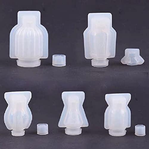 ER-NM Contenedor de botella pequeña Resina UV Molde de fundición de resina epoxi Mini juego de moldes para botellas de perfume-Paquete de 5 moldes de resina