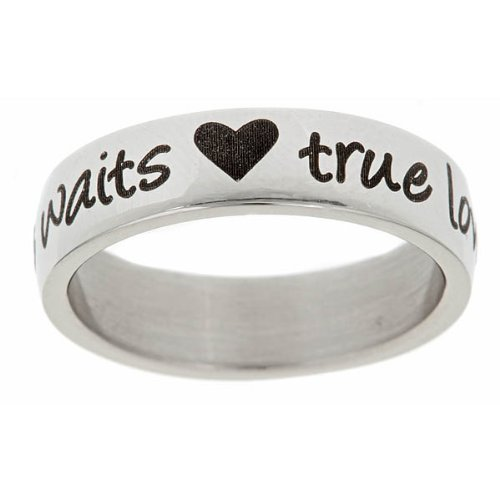 True Love Waits and Hearts Stainless Steel Purity Ring (10)