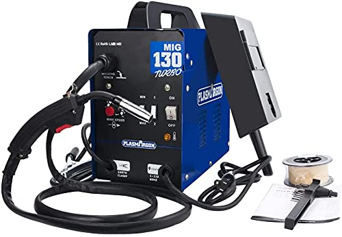 MIG 130 AC Flux Core Wire No Gas Automatic Feed Welder Welding Machine w/Free Mask 110V 220V No Plug