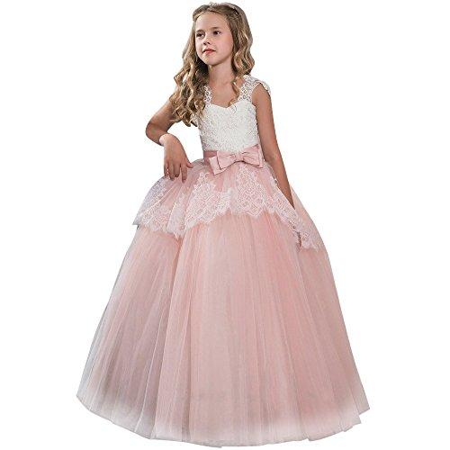 Robe Enfant Mignon Fille Ceremonie Anniversaire De Princesse d'honneur Mariage avec Bowknot Longue en Dentelle Robe Tutu De SoiréE NoëL Carnaval 3-9 Ans (9 Ans, E-Rose)