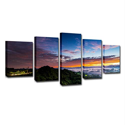 """WLGOOD-Bild 100x55 cm/39.4\"""" x21.7 ,In Vier Größen erhältlich-Bilder auf Leinwand-Leinwandbilder-Bilder-Vlies Leinwand-Wandbilder-Kunstdrucke-5 Teilig,Taiwan Beau Paysage Du Matin,Cadeau"""