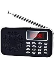 【Newiy Start】FMラジオ 充電式 AM FM ワイドFMも対応 ポケットラジオ 高感度 小型 LEDライト アンテナ スピーカー付き ポータブルラジオ マイクロSDカード対応 MP3プレーヤー (ブラック)