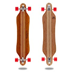 42 inch longboard with laser etched graphics - Inspired by the beach and designed for Cruising and Freestyle Cutout shapes eliminates wheel bit during the sharpest of carves The super flexible deck is made with beautifully stained bamboo and a hard m...