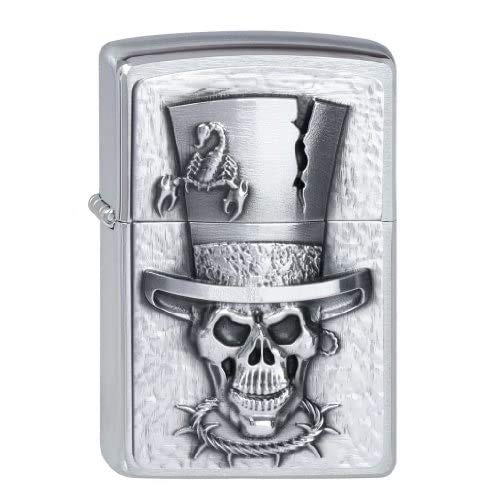 Zippo Feuerzeug 2001666 Skull Top Hat Emblem Briquet, Metal, Brushed Chrome, Normal