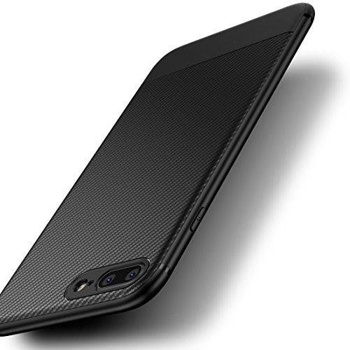 ZSCHAO Funda para iPhone 8 Plus para iPhone 7 Plus fibra de carbono Silicona Slim antigolpes +Cristal Templado TPU Carcasa Funda Compatible con iPhone 8 7 Plus Carbon ultrafina Case Cover Bumper Negra
