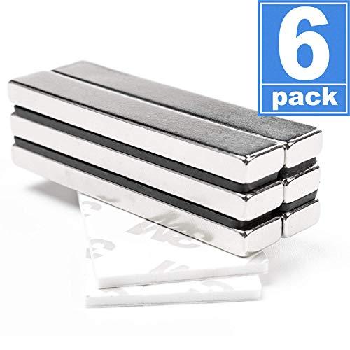 FINDMAG Neodym-Magnete, starke Magnete, Seltenerdmagnete mit doppelseitigem Klebeband, 60 x 10 x 5 mm, 6 Stück
