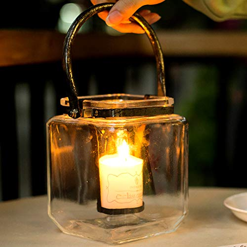 Diamond Star Glass Candle Lantern Decorative Candle Holder Outdoor Table Lantern with Metal Handle (S(4.3'×4.3'×5.5'))