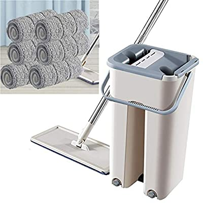 Foldable Flat Mop and Buckets Set with 2/4/6 Sq...