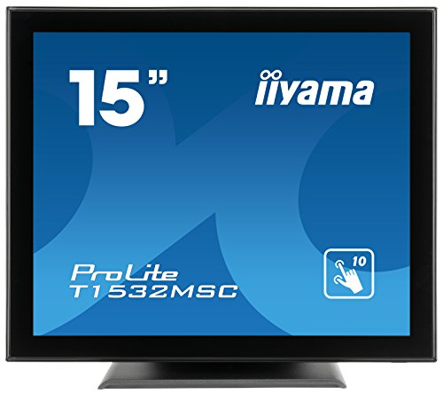 liyama Prolite LED-monitor, 10-punts multitouch capacitief (VGA, HDMI, DisplayPort, IP54) zwart Glare 15 inch zwart
