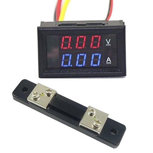 """EasyWordMall 0.28""""100V DC Digital Voltmeter Ammeter Strom Spannungsmessung LED Dual Display Amperemeter Volt Amp Panel Meter mit 50A Shunt (Rot+Blau; 50A)"""