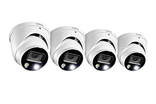 Lorex E892DD Indoor/Outdoor 4K Ultra HD Smart Deterrence IP Dome Camera with Smart Motion Plus, 150ft Night Vision, CNV, 2.8mm, F2.0, IP67, Audio, Works with N842, N862B Series, White,(4 Cameras)