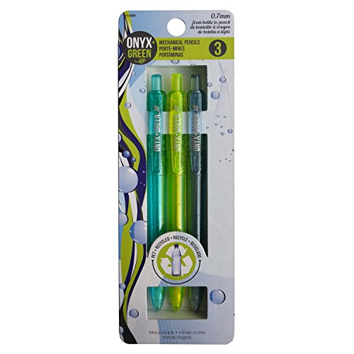 Onyx and Green 3-Pack Mechanical Pencils, Recycled PET, 0.7 mm, 3 Spare Leads (1406)