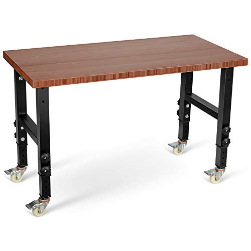 Goplus Garage Workbench with Casters, 48' Adjustable Bamboo Top Mobile Work Bench, Heavy-Duty Steel Work Table Hardwood Workstation (Brown)