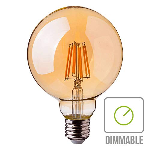 VT-2018D+8W+G125+LED+FILAMENT+BULB+AMBER+GLASS+COLORCODE:2200K+E27