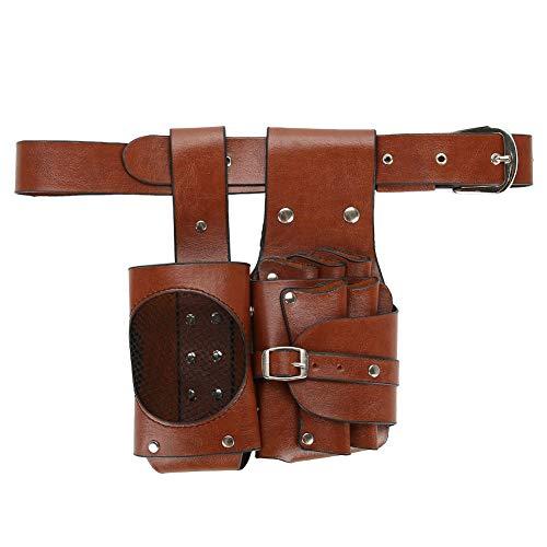 Bolsa de tijera de cuero PU marrón, herramientas de peinado, cinturón desmontable multifunción, soporte de peluquería, para peluquero para peluquería
