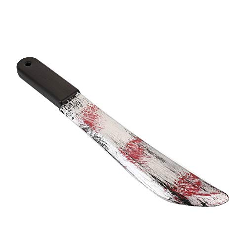 Brand New and High Quality Made with high quality plastic and featuring a gruesome blood-stained design, these knives are perfect for completing any number of Halloween costumes. Color: Red+silver+brown+black Packing List: 1 x Halloween Glowing Props