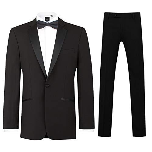 Dobell Herren Schwarzer Smoking-Anzug zweiteilig Fallendes Revers (22 Jackett mit 22 Hosen)