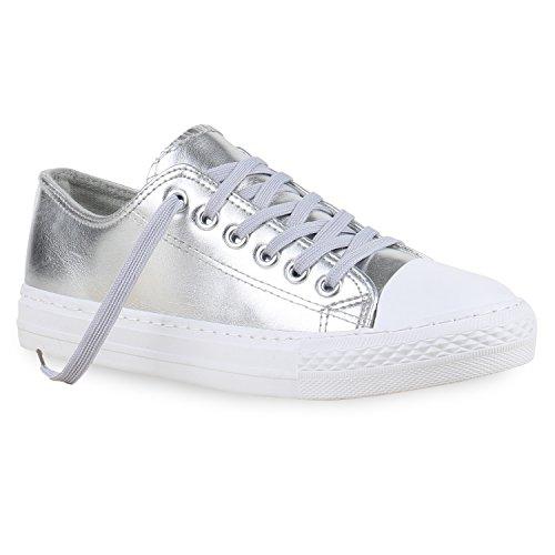stiefelparadies Damen Sneakers Mehrfarbig Metallic Turn Sneaker Low Freizeit Flats Glitzer Schuhe 130110 Silber Metallic 38 Flandell
