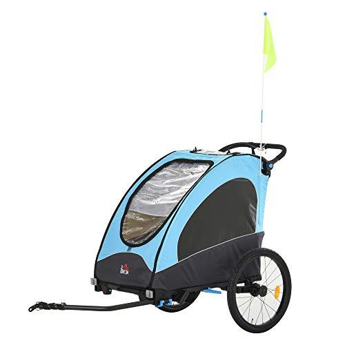 HOMCOM Remolque Infantil 3en1 para Bicicleta Carro de 2 Plazas para Niños de +6 Meses Plegable Ruedas Giratorias y Manillar Ajustable 150x85x107 cm Azul