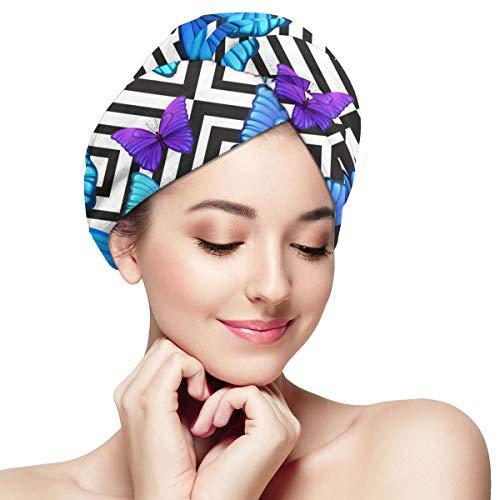 tangdouou Enveloppe de Serviette en Microfibre pour Cheveux Le Turban à séchage Rapide Anti-frisottis Perfect Haircare avec Brosse sèche Humide, Papillon Bleu Violet