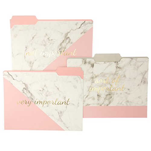 "Graphique Blush Marble File Folder Set – File Set Includes 9 Folders and 3 Unique\""Important\"" Designs, Embellished w/Gold Foil on Durable Triple-Scored Coated Cardstock, 11.75\"" x 9.5\"""