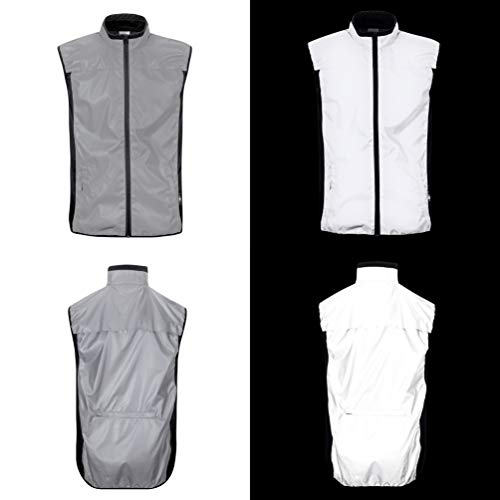 BTR High Visibility Cycling & Running Reflective Silver Gilet with Two Side Pockets & One Large Rear Pocket. Large (42-44 Inches)
